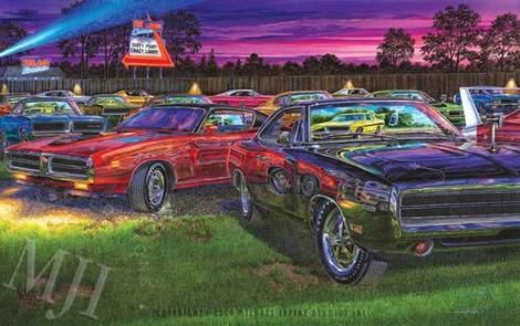Automotive Art Michael Irvine Studios Muscle Car Artwork Car