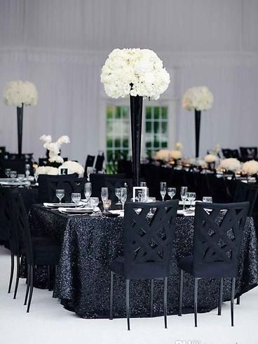 "90x156"" Black Premium Sequin Rectangle Tablecloth in 2020"