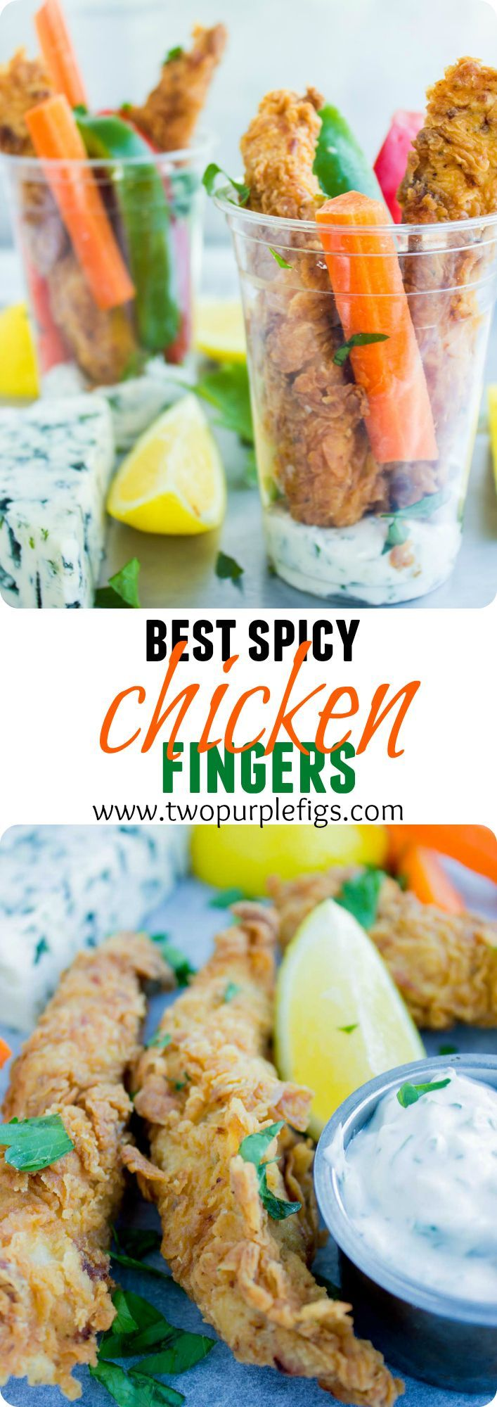 Fried Chicken Fingers recipe is the REAL DEAL best spicy chicken fingers ever--fried till perfection! With a cool sour cream blue cheese dip--a favorite for kids and grown ups! www.twopurplefigs.com