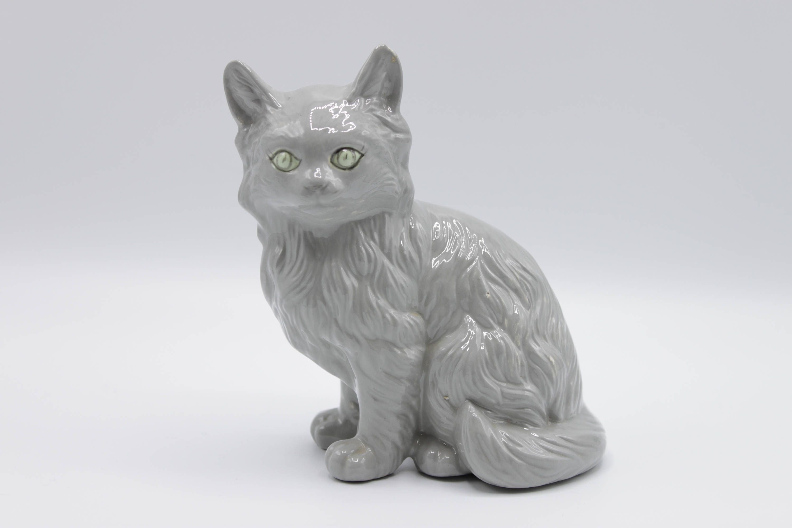 retro 1970s gray persian cat figurine vintage cat statue persian
