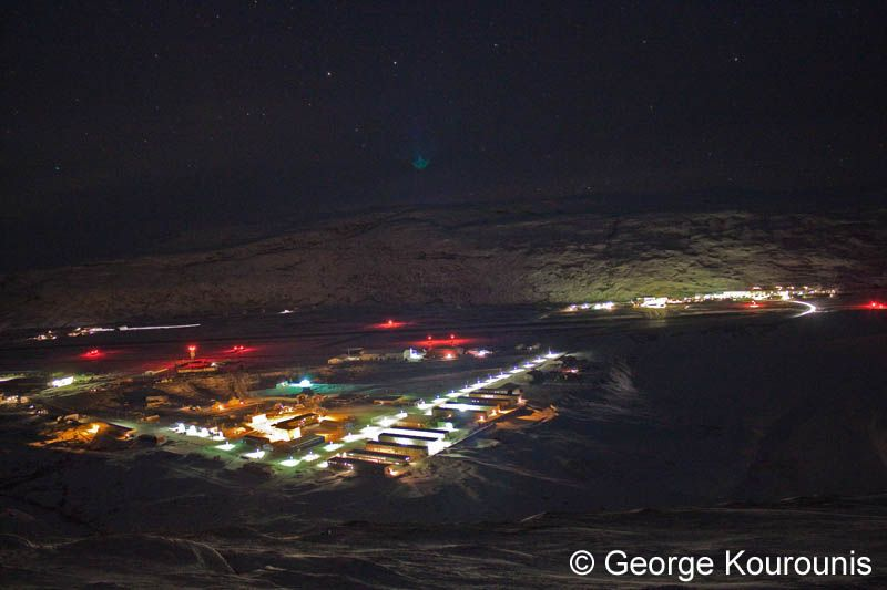 Looking Down On Kangerlussuaq At Night The Two Halves Of Town Are