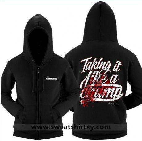 The walking dead hoodie with zipper black negan xxxl | the