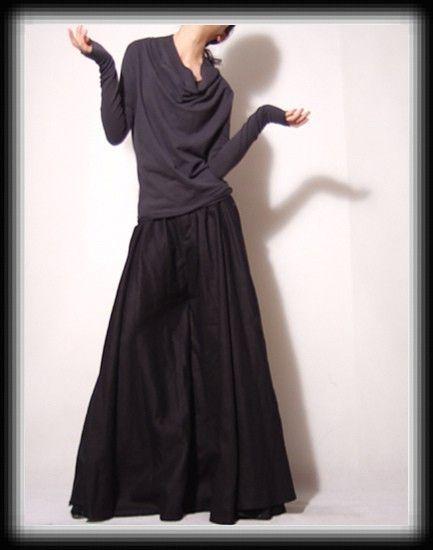Black Linen Cotton Straight Wide Leg Skirt Like Pants FREE SHIPPING International. $128.60, via Etsy.