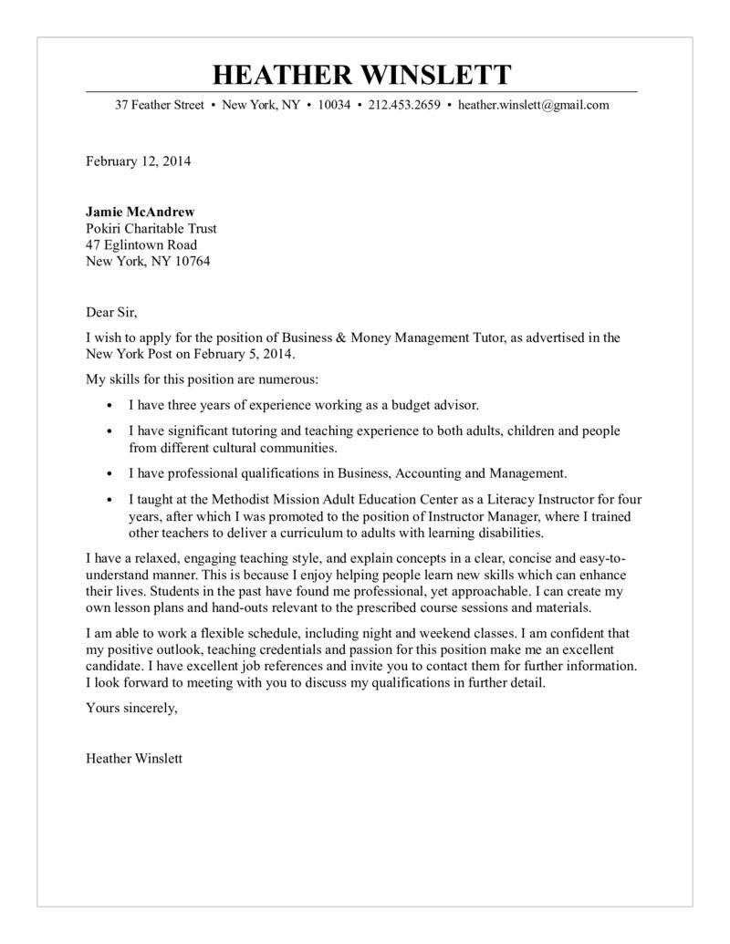 23 Education Cover Letter Business Money Management Tutor