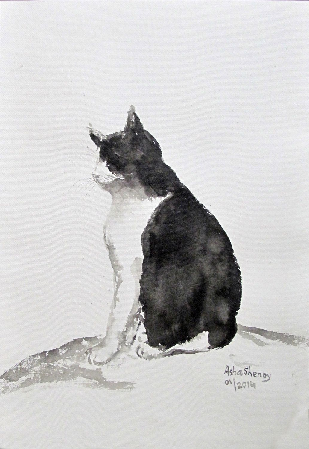 Cat Wall Decor original art ink painting chinese art black and white cat wall