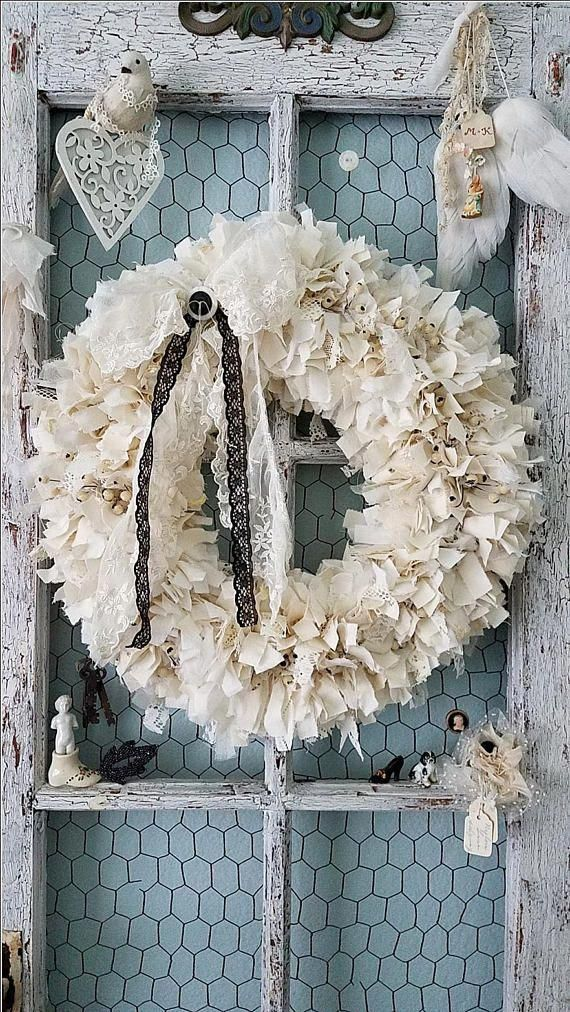 Photo of Wreath, fabric wreath, cream wreath, rag wreath, forest wedding, farmhouse …