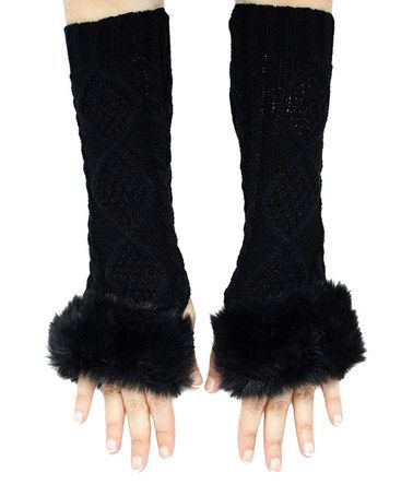 Another great find on #zulily! Black Lattice Fingerless Arm Warmers by B&B Couture #zulilyfinds
