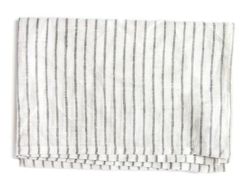 White Linen Tea Towel with Charcoal Lines in 2020 White