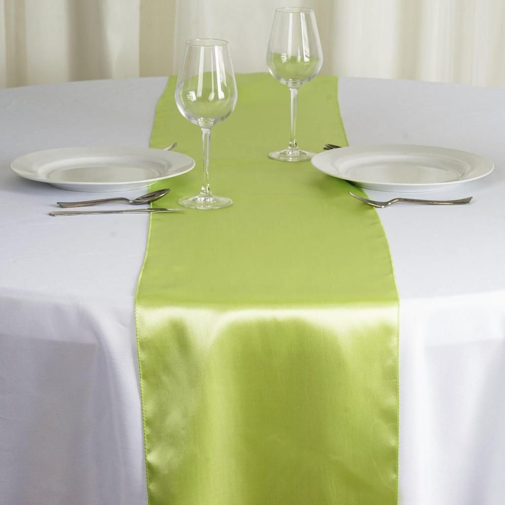 12 X108 Apple Green Satin Table Runner Table Runners Table Decorations Banquet Decorations
