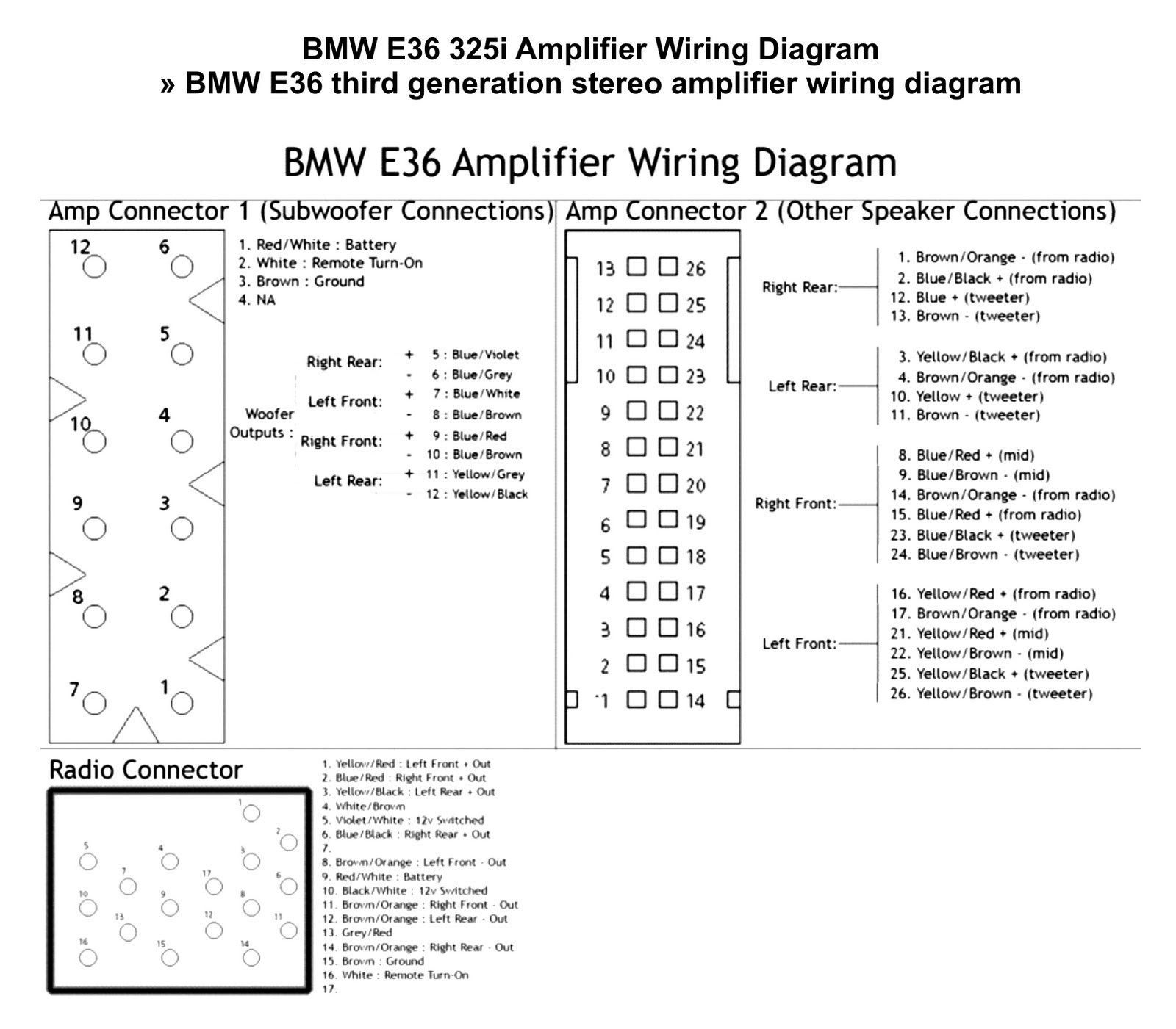 E36 Amplifier Wiring Diagram #diagram #diagramtemplate #diagramsamplePinterest