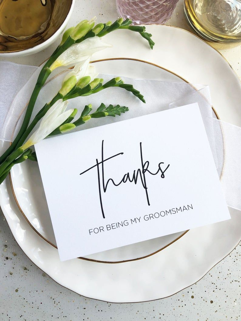 Wedding Thank You Cards Groomsmen Gift CS Bridal Party Gifts Elegant Minimalist Wedding Thanks for Being My Best Man Wedding Day Card