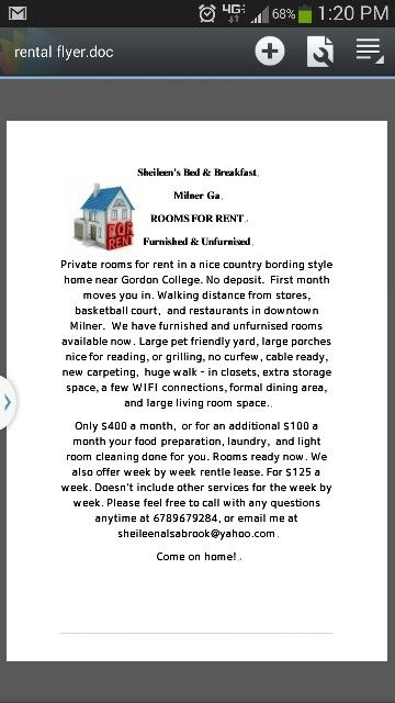 Room for rent near Gordon College in Barnesville Ga rent