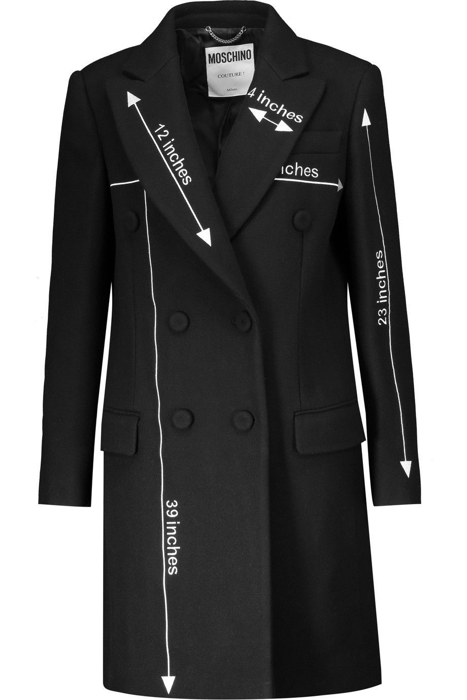 MOSCHINO Embroidered Wool-Blend Coat. #moschino #cloth #coat