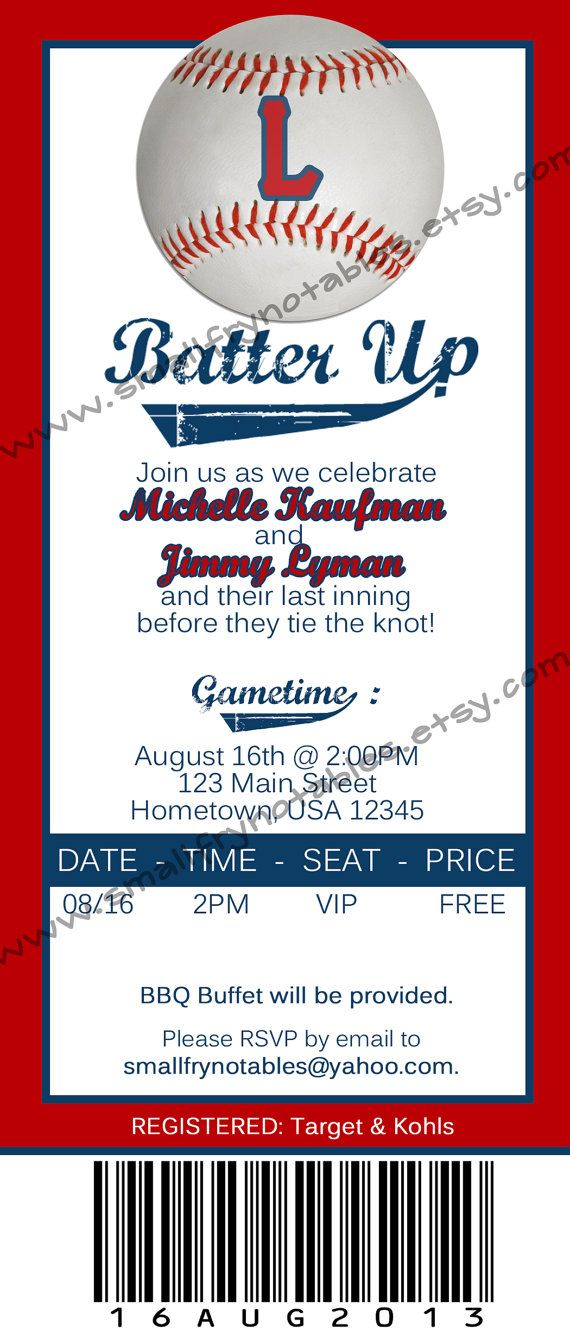 grooms dinner idea for mom personalized baseball ticket style couples bridal shower wedding party printable invite