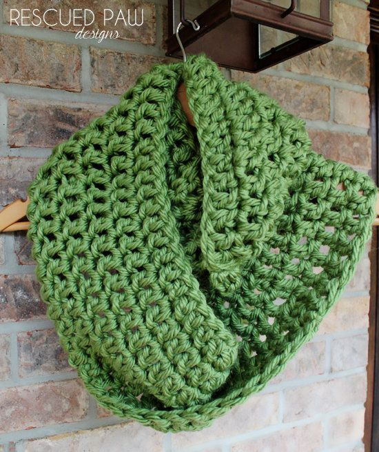 Avocado Green Large Chunky Crochet Infinity Scarf by RescuedPaw ...