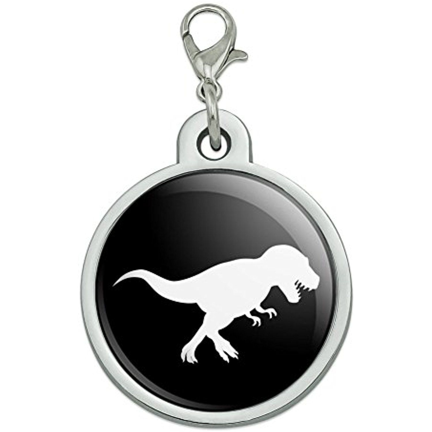 Dinosaur Tyrannosaurus Rex Black White Chrome Plated Metal Pet Dog Cat Id Tag Large Check This Awesome Product By Going T Dog Id Tags Cat Id Tags Dog Cat