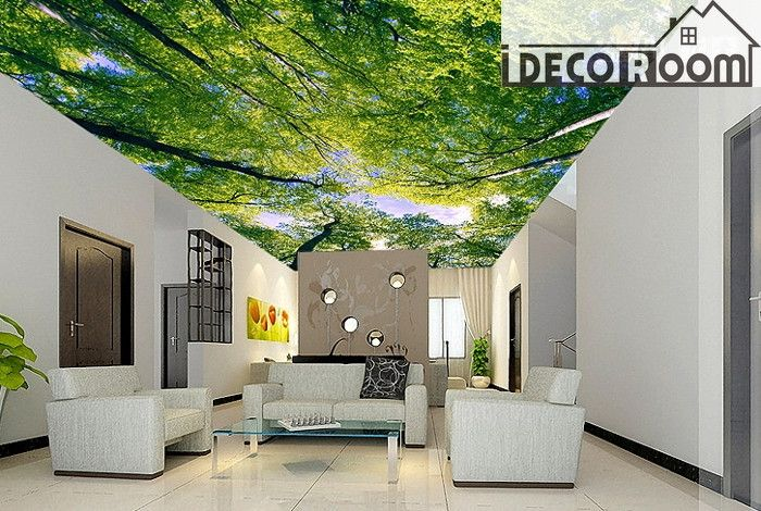 Green Tree Ceiling 2 Wall Paper Wall Print Decal Wall Deco Indoor Wall  Mural Wallpaper Part 52