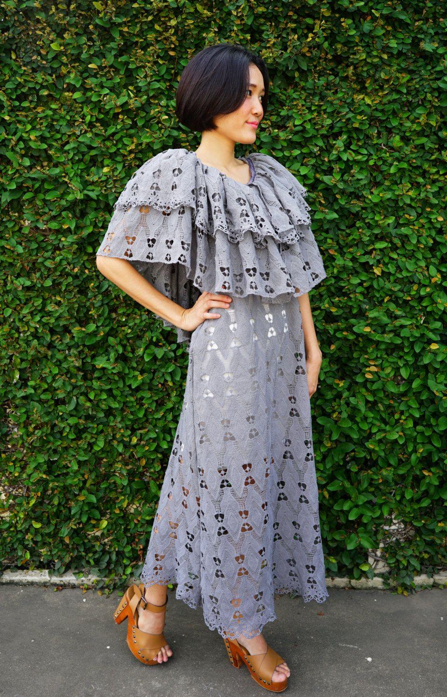 Vintage Revival of 1970s Maxi Dress, Lace Dress, Maxi Dress, Boho Dress, Peasant Dress, Lace Maxi Dress, 70s Style Dress, Deep V back Dress by hisandhervintage on Etsy