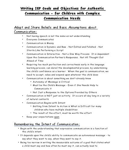 Writing IEP Goals and Objectives for Authentic Communication - for - speech outline