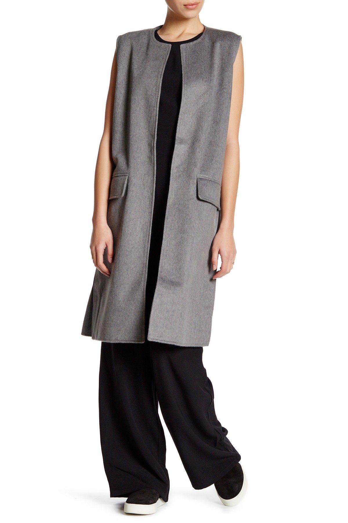 Sleeveless Wool Blend Long Vest