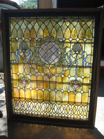 ANTIQUE STAINED GLASS measures 56in wide by 68in high  UHW - Unique Furnishings For Home & Patio