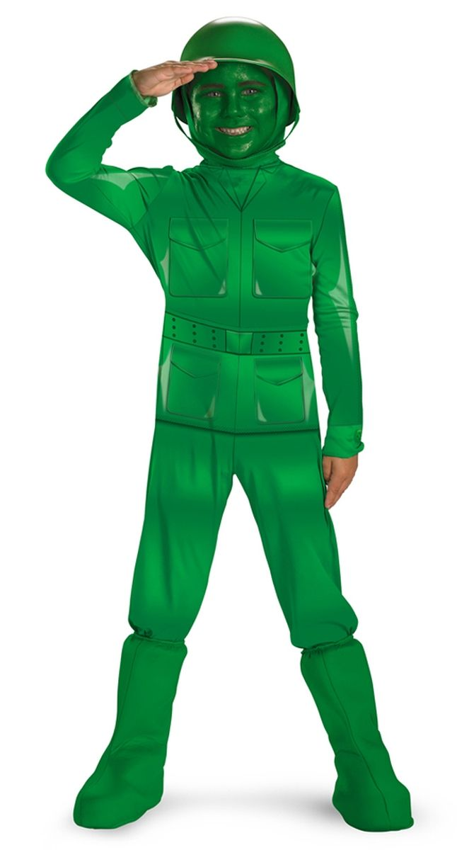 army toy sty green man costume now you can be your favorite toy story character toy story green army man boys costume deluxe includes printed jumpsuit - Boys Army Halloween Costumes