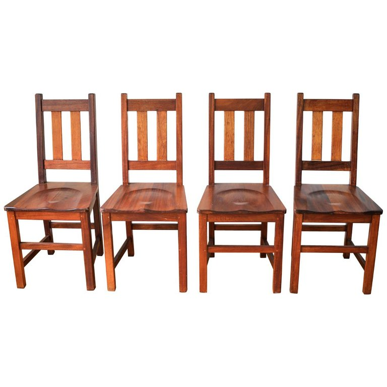 Set Of Four Vintage South African Railways Desk Chairs in ...