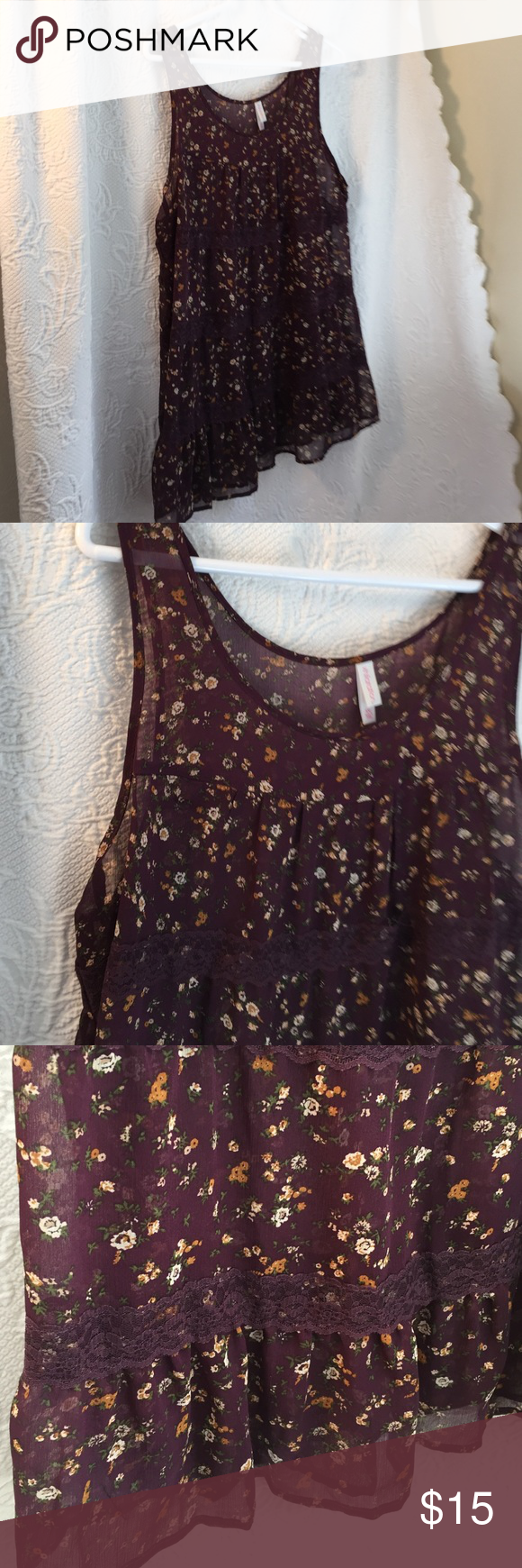 Xhileration lace and print top Xhileration lace and print top Very pretty Xhilaration Tops Tank Tops
