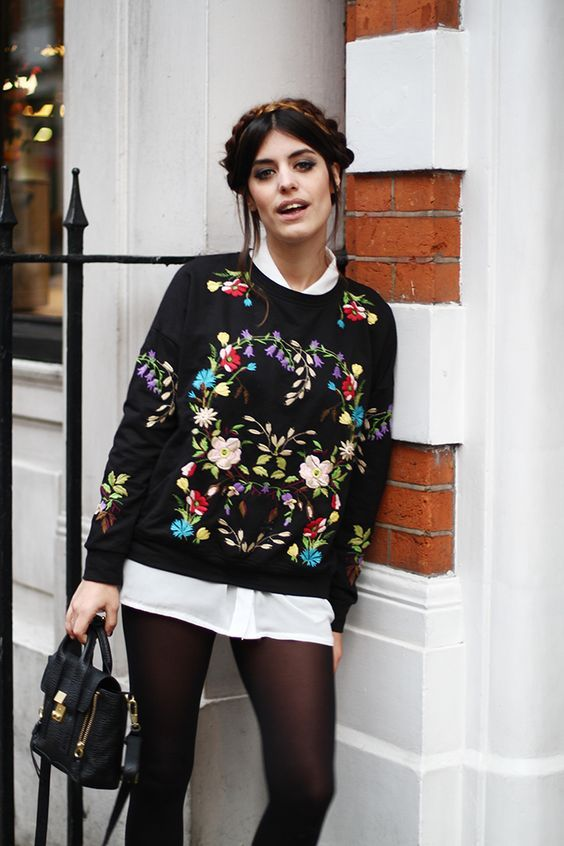 Touch of embroidery to black, lightens but enriches it