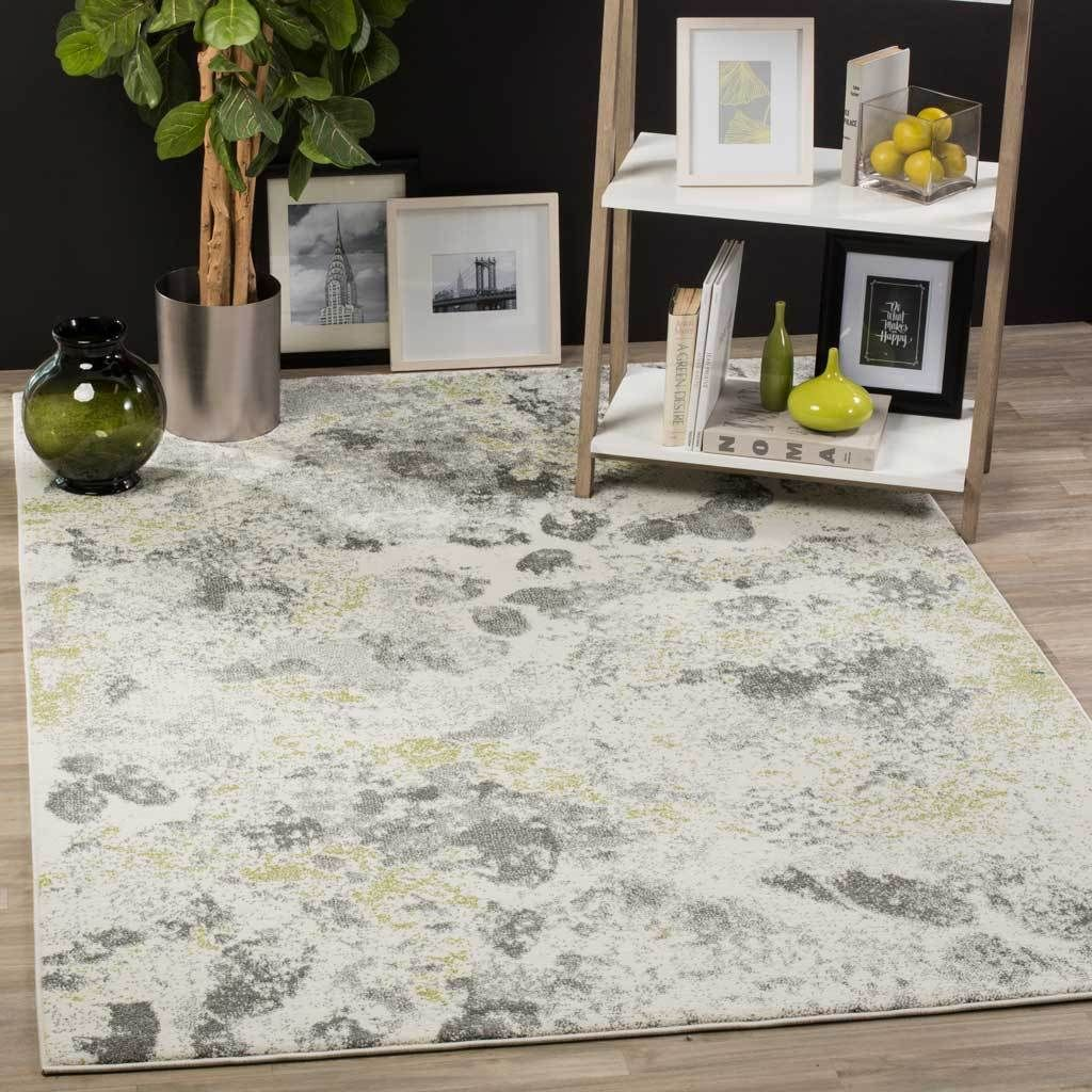 Watercolor Ivory Gray Area Rug Contemporary Area Rugs
