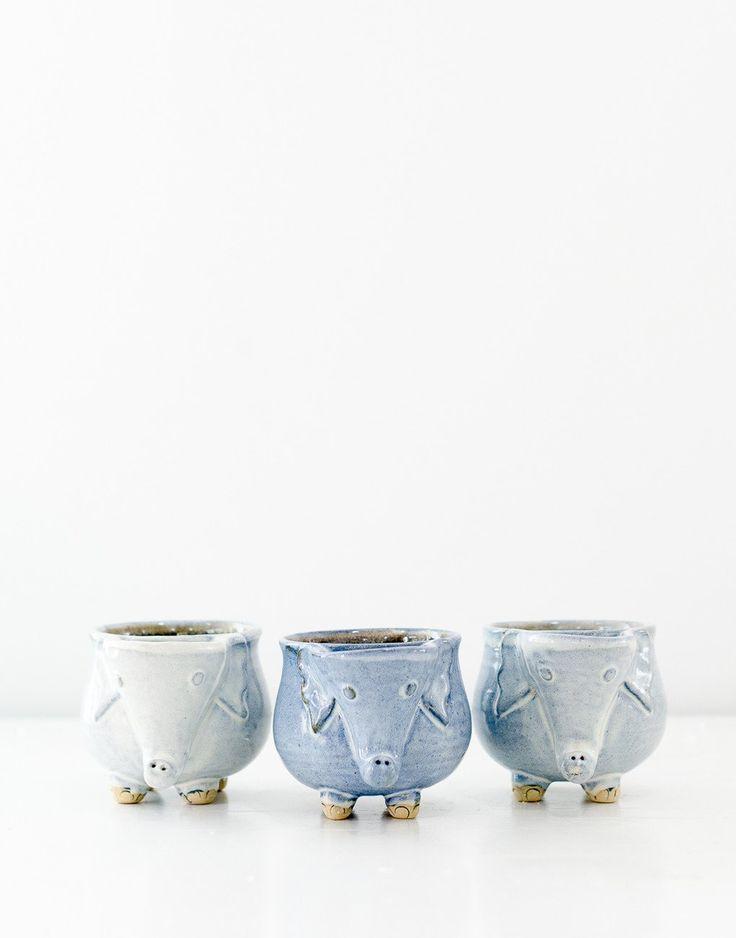 Fair trade handmade ceramic elephant mug blue fair trade