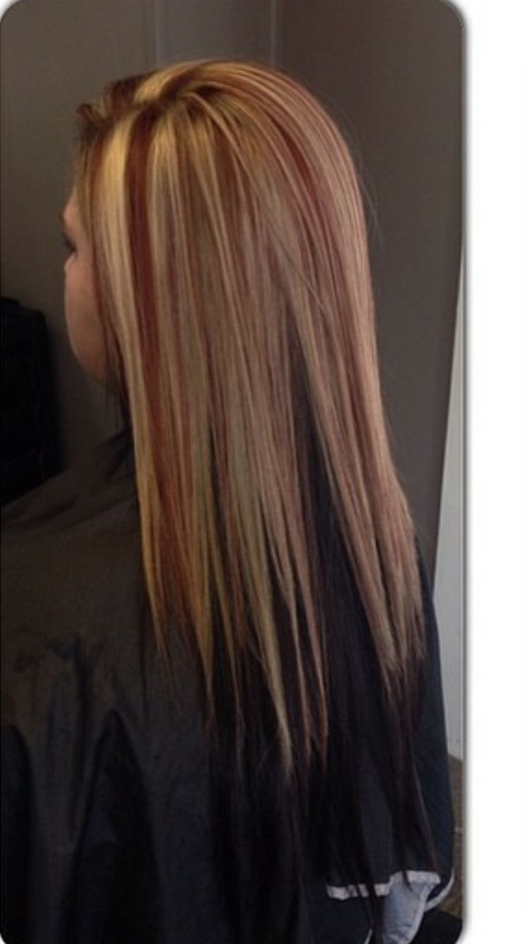 Hair black with blonde and red underneath rare photo