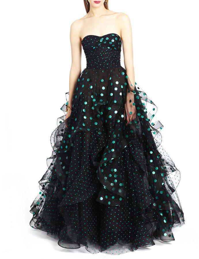Oscar de la Renta Strapless Sweetheart Polka-Dot Gown, Black/Green ...
