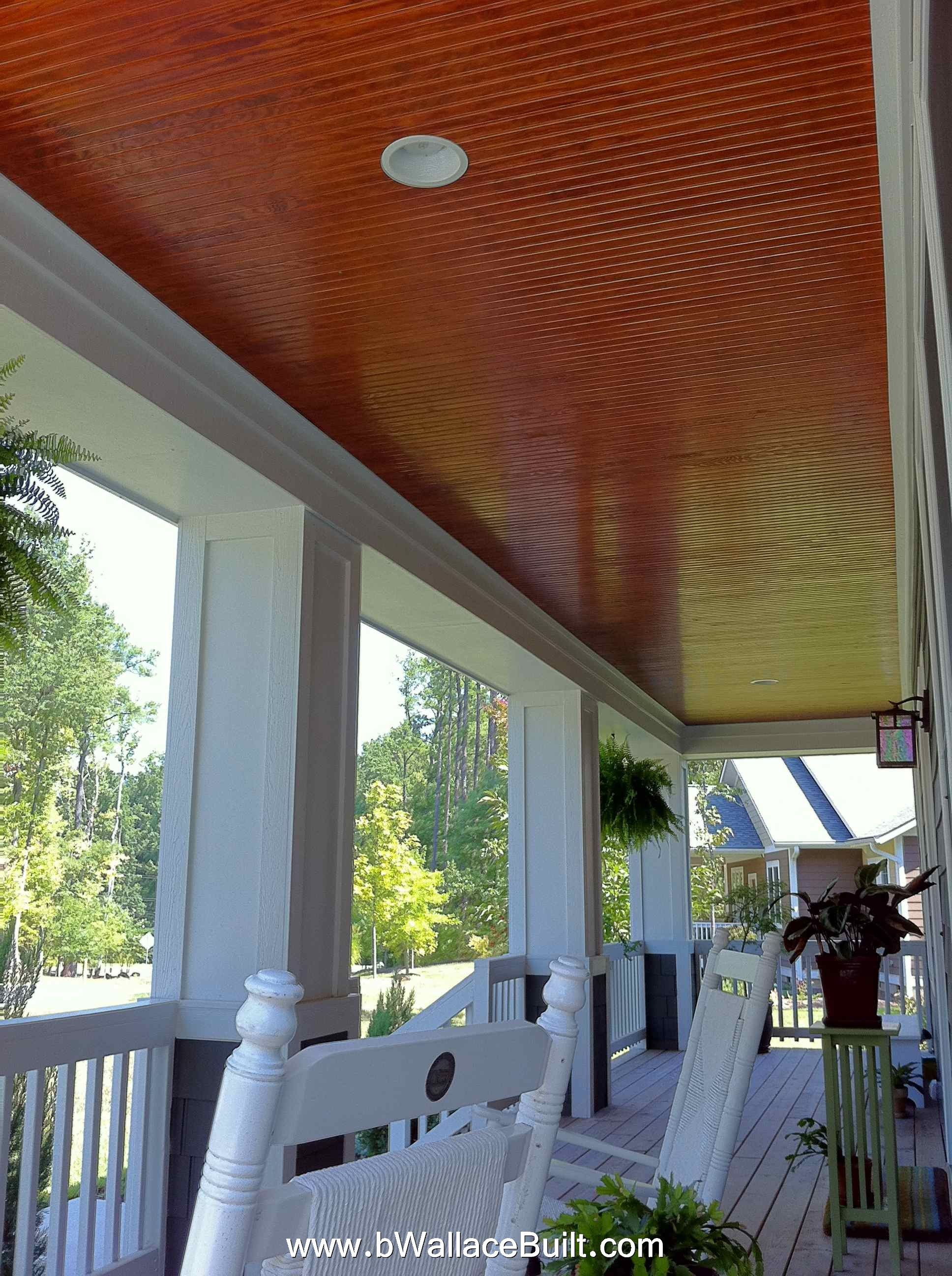Or instead of painting, stain the wood ceiling on the porch - Dark ...