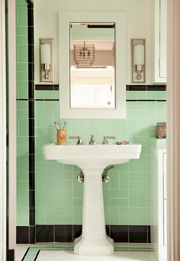 Mint Green And Black Vintage Bathroom