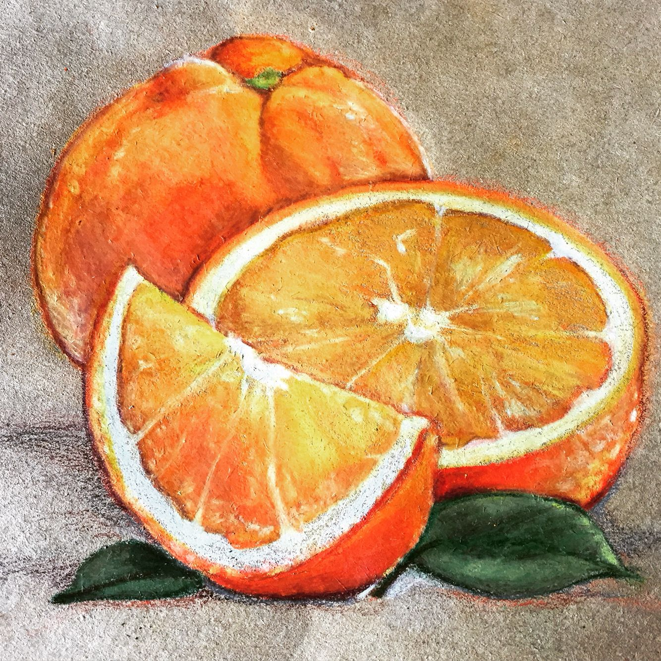 Orange Still Life 7x7 Inches 2015 Watercolor Paintings Easy