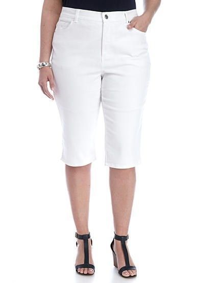 c5b11ac3dea8f New Gloria Vanderbilt Womens size 18 Skimmer Amanda Stretch White Capris  Shorts  GloriaVanderbilt  skimmer