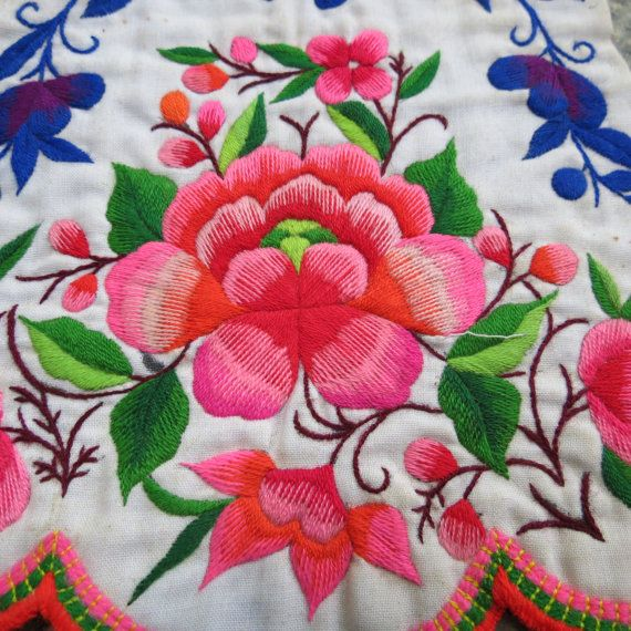 2 Vintage Hmong Fabric handmade tapestry textiles hill by dellshop