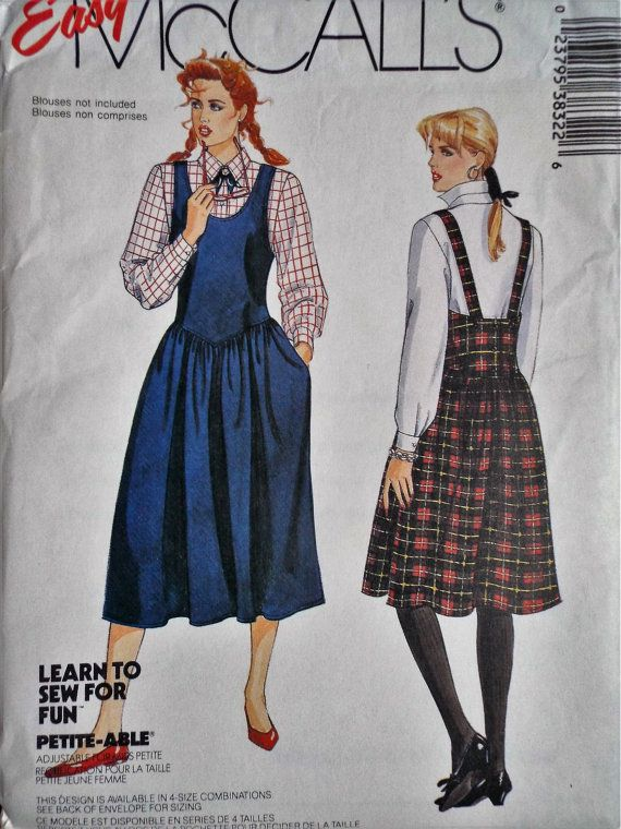 Vintage McCalls 3832 Drop Waist Pinafore Dress Sewing Pattern Uncut ...