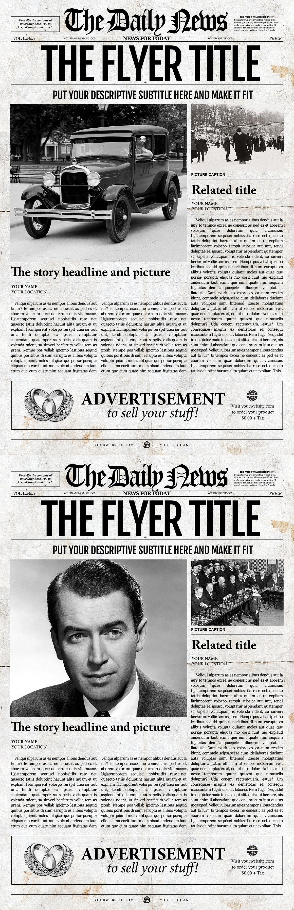 Old Newspaper Front Page Template Psd  Flyer Templates