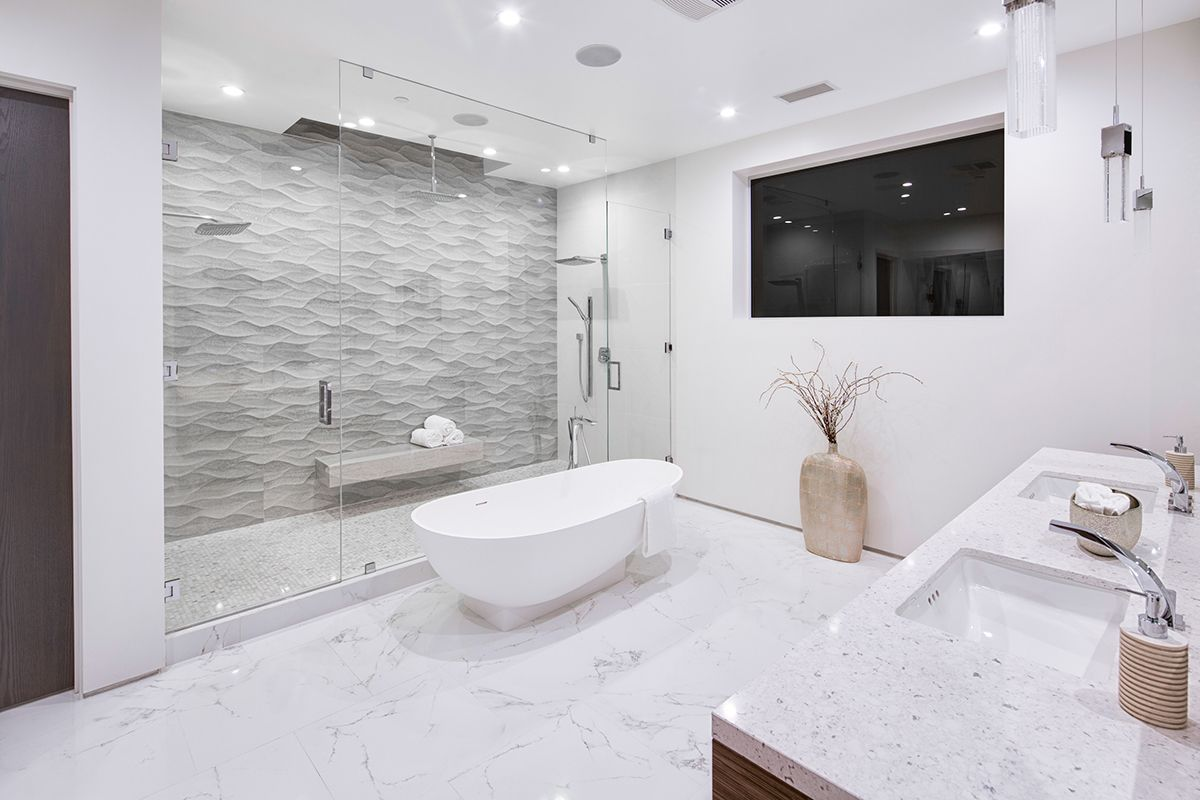 What Is Bath In French porcelanosa ona natural textured tile add dimension to this