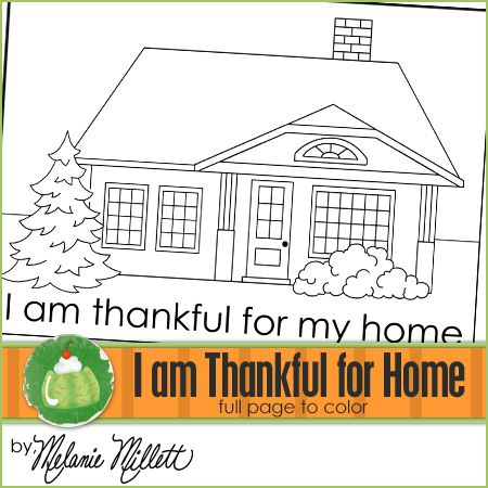 I Am Thankful For My Home Printable Coloring Page