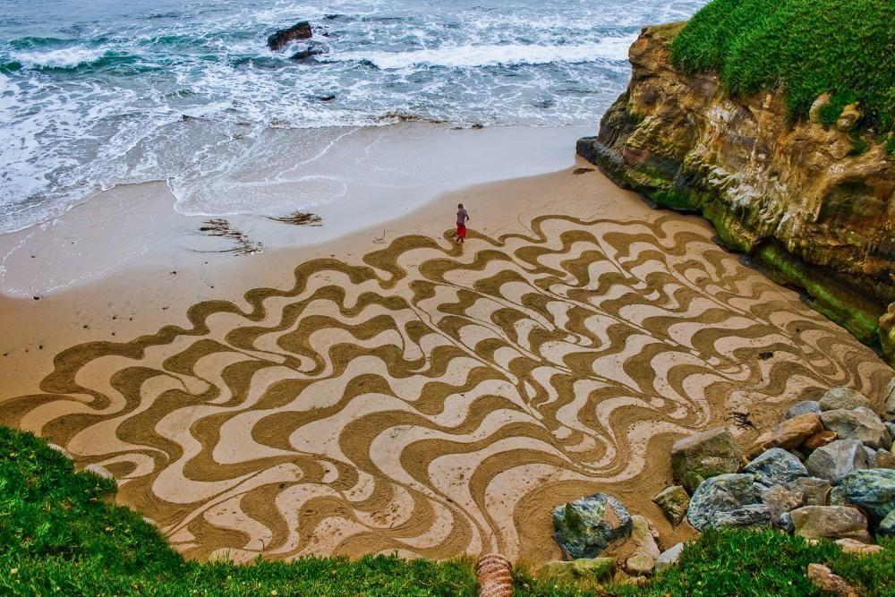 Santa Cruz, Californië Zand kunst, Kunstwerk, Landkunst