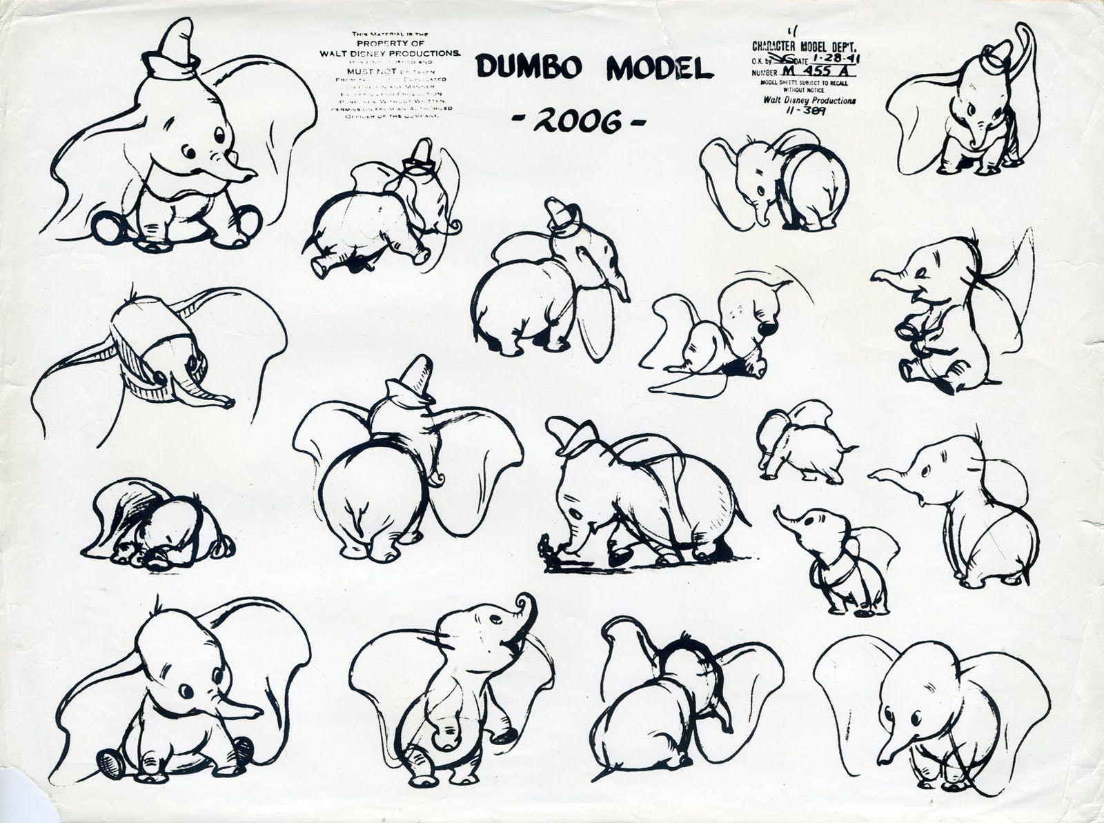Dibujo Para Colorear Del Elefante Dumbo De La Película De: Model Sheet For Dumbo From Disney's Dumbo