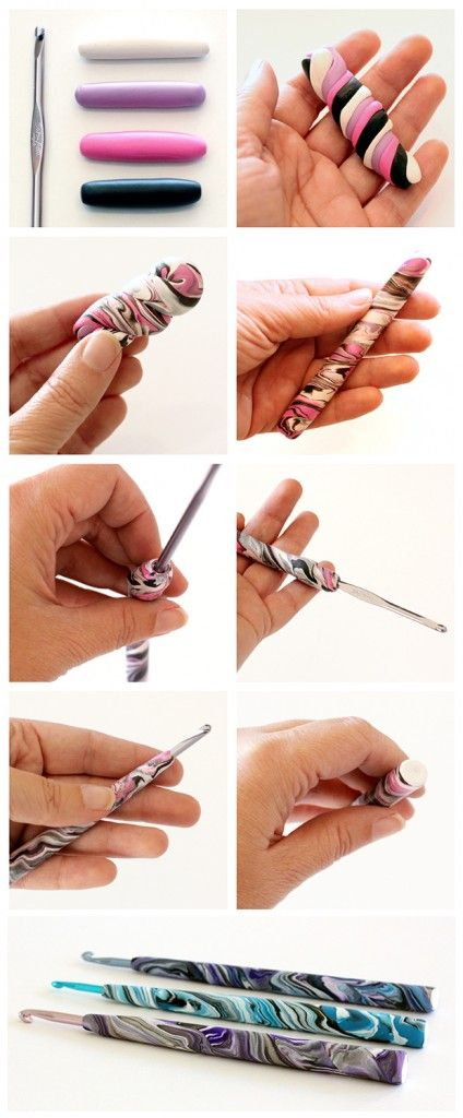 Do your hands hurt when you crochet? Make your hands more comfortable with this easy photo tutorial for making polymer clay crochet hook handles - Dabbles & Babbles