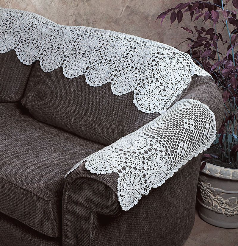 New Handmade Crochet Lace Cotton White Arm Sofa Cover 22 X 14