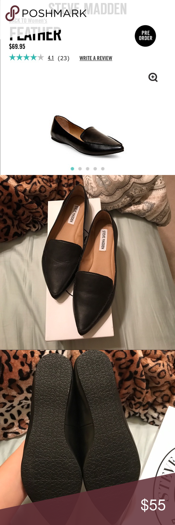6a555593cea Steve Madden Leather Black flats with box! Style name is Feather. Steve  Madden Shoes Flats   Loafers