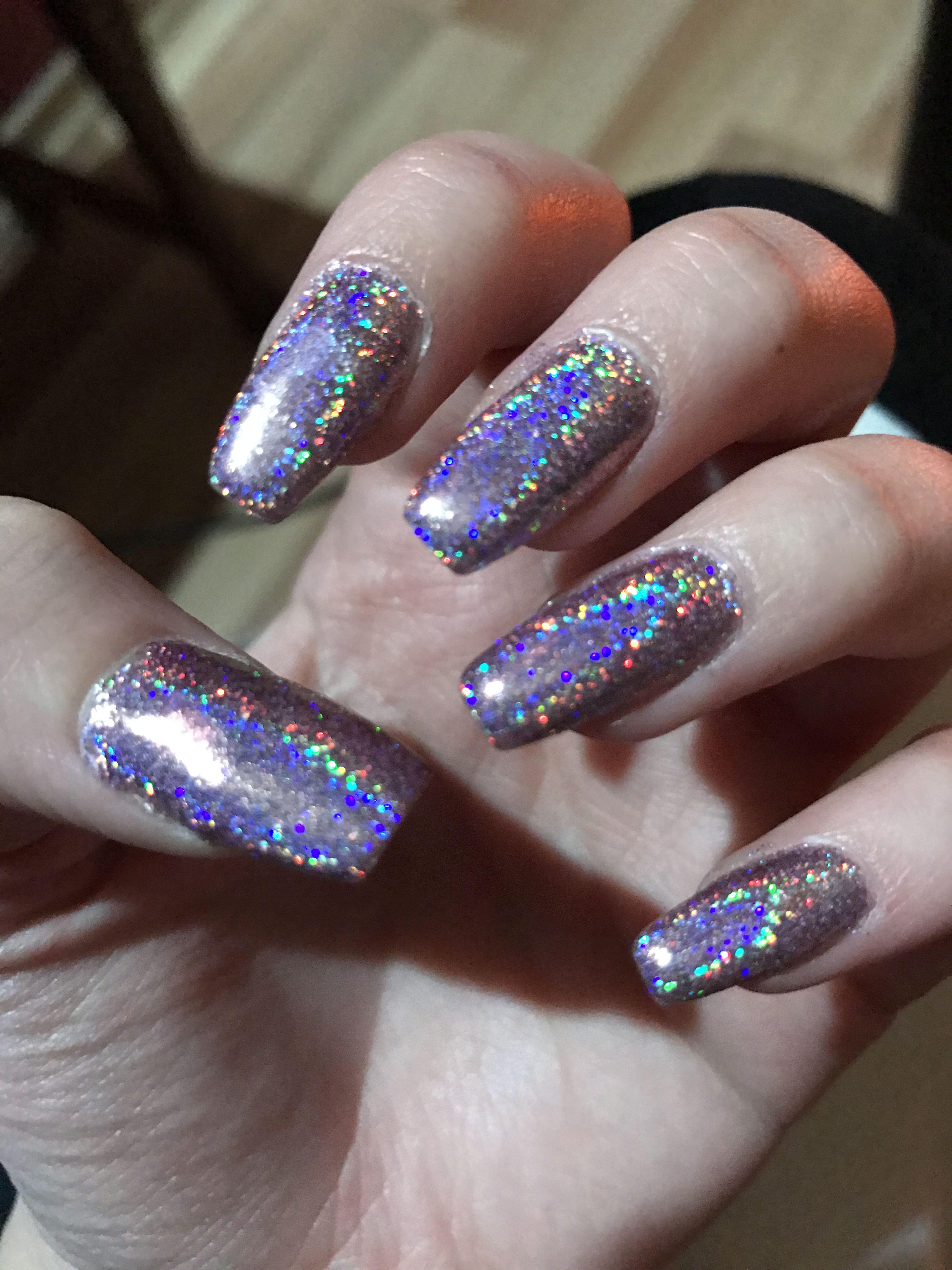 Glitter Nails Metallic Accent