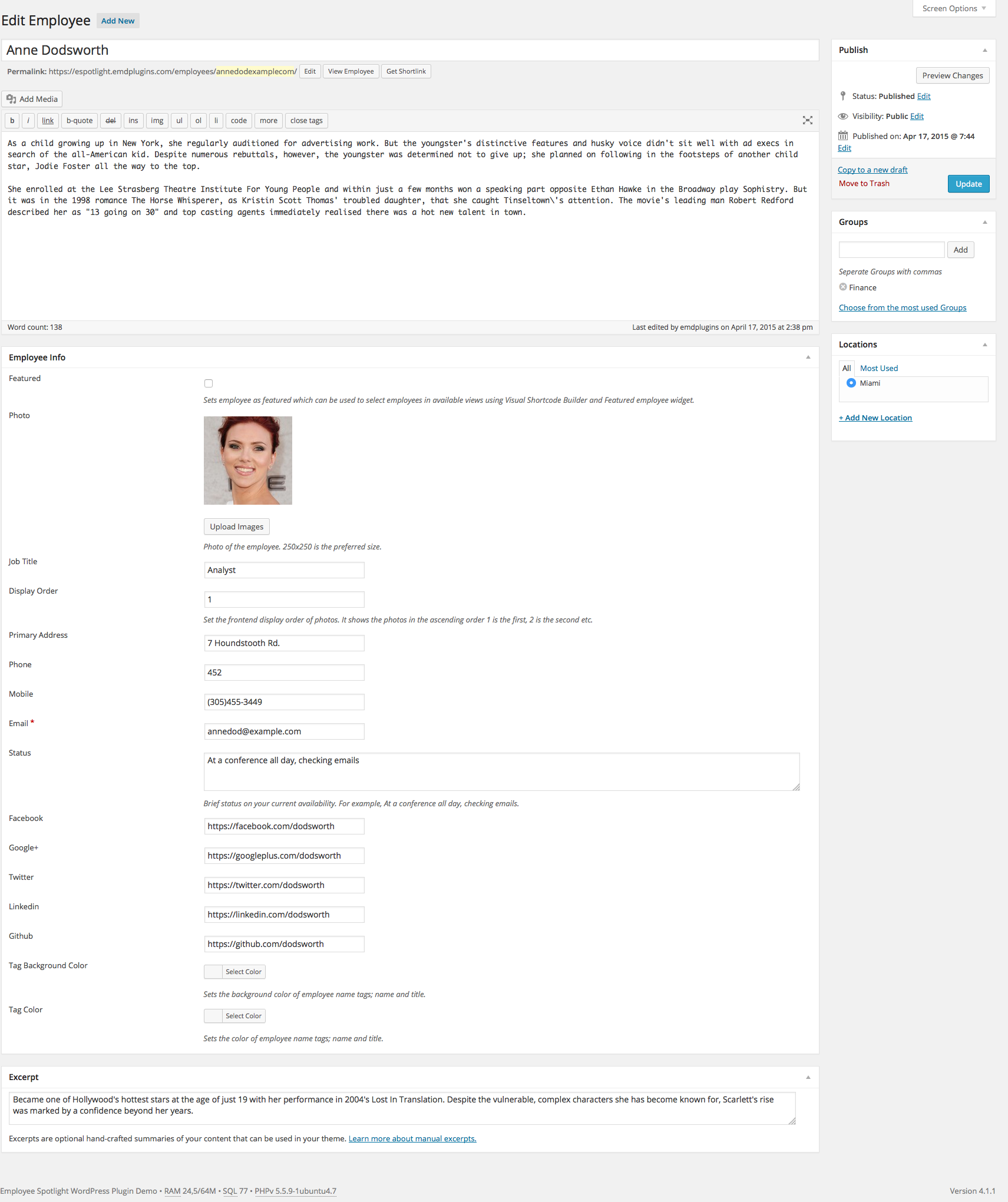 Employee Spotlight Pro Wordpress Plugin Employee Profile Single