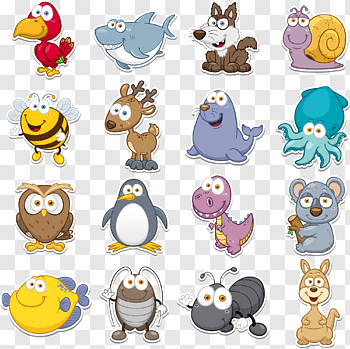 Funny Animal Q Version Animal Collection Close Up Of Assorted Animal Free Png Funny Animals Animal Cutouts Animal Free